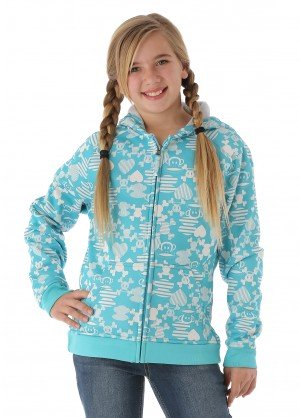 Paul Frank Girls Julius Mix-Up Bonded Tech Fleece (Aqua)