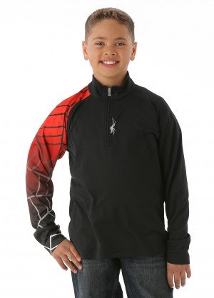 Spyder Boys Linear Web Dry Web T-Neck (Black/Volcano/White)