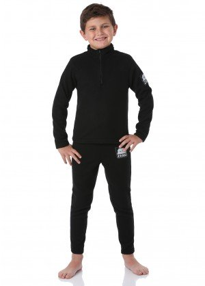 Zemu Little Boys Black Fleece Set (Top & Bottom) - WinterKids.com