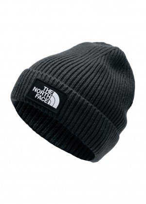 The North Face Youth Box Logo Cuff Beanie - WinterKids.com